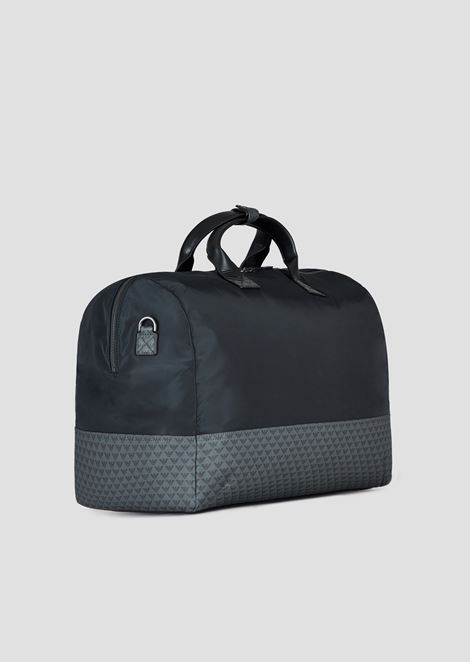 Nylon duffle bag with all-over monogram on a PVC background