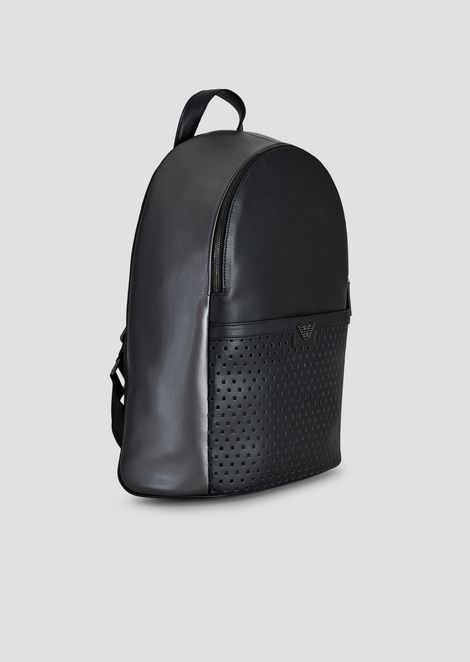 Backpack in embossed boarded leather with shimmer-effect piercing