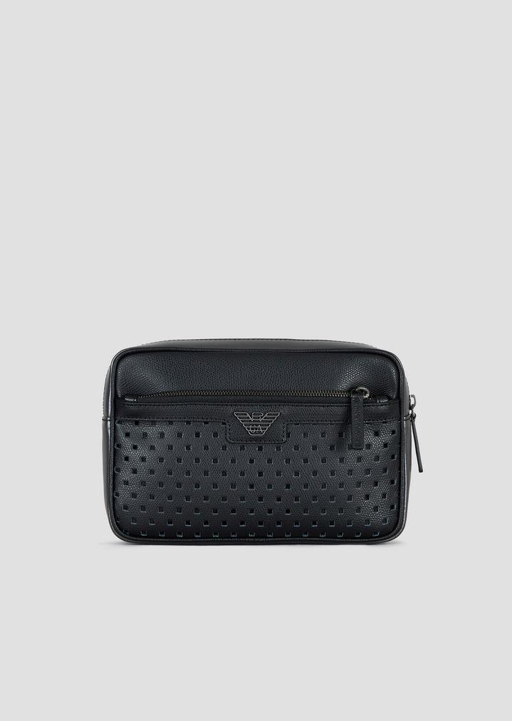 Cross-body bag in shimmer-effect pierced boarded leather  732ac311d5a28