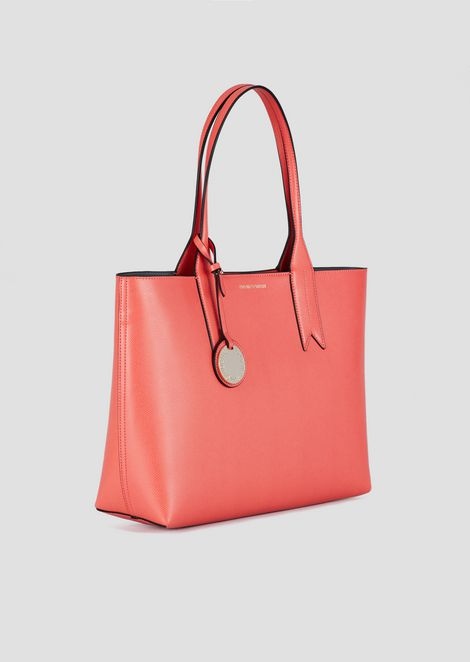 Shopper with logoed charm and internal pochette