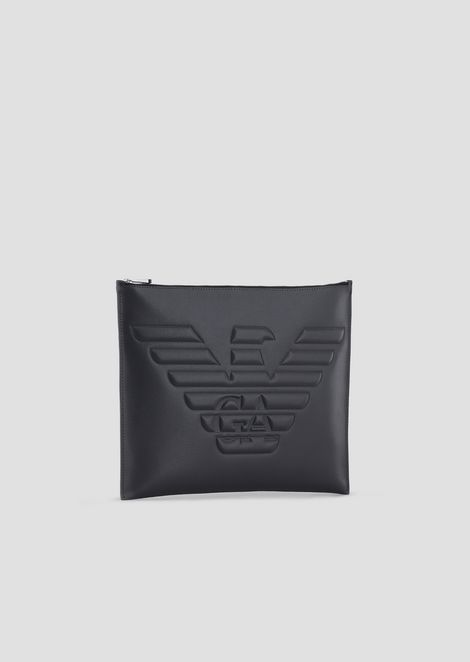 Clutch in boarded printed leather with maxi logo