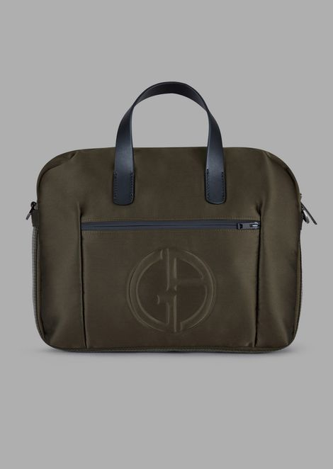 Briefcase bag with embossed logo and two-tone strip