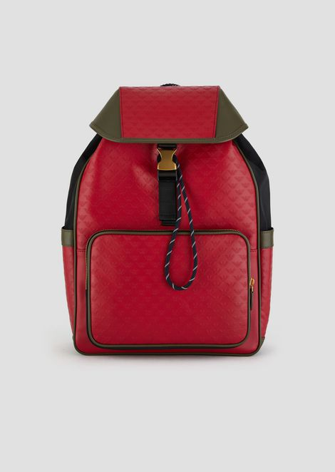 21337c07eb48 Leather backpack with side pockets and all-over logo print