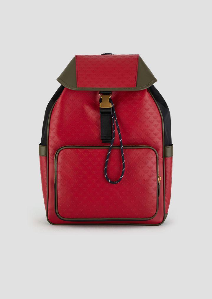 9343f54026a2 Кожаный рюкзак с боковыми карманами и сплошным принтом-логотипом | Мужской  | Emporio Armani