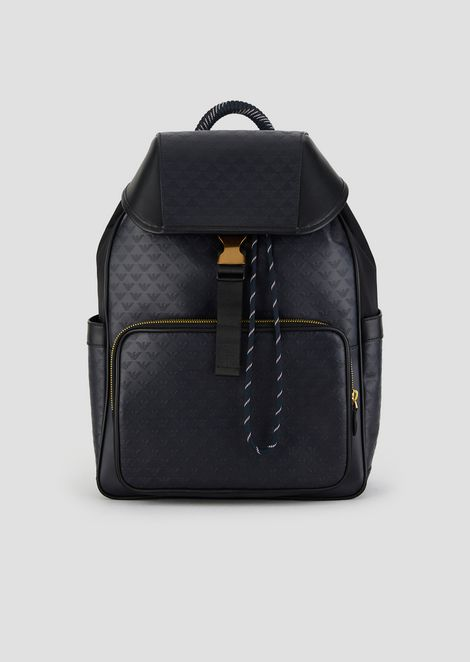 484ec21a6d34 Color. Leather backpack with side pockets and all-over logo print
