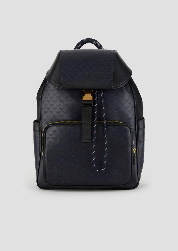 0422d1ec748c Leather backpack with side pockets and all-over logo print