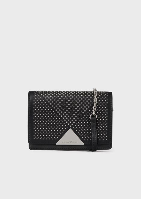 Mini cross-body bag in vacchetta leather with studs