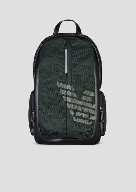 Nylon and mesh backpack with logo print and central zipper