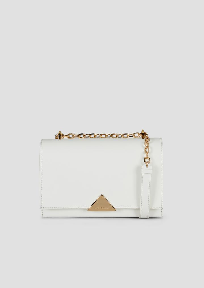 1dce7deefc Shoulder bag in smooth leather with chain strap