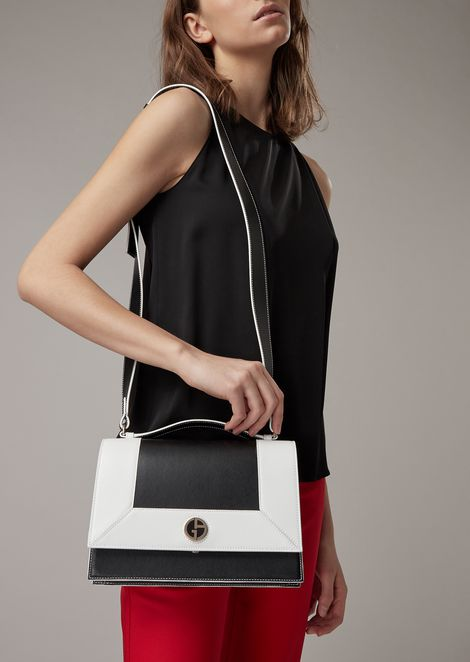 Smooth leather shoulder bag with enamelled logo