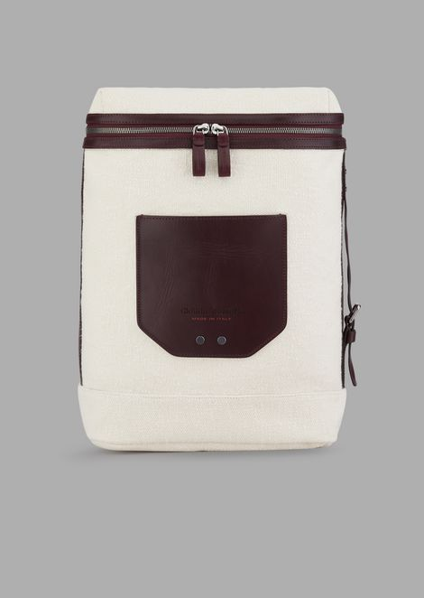 Backpack in cotton canvas with pocket and leather details