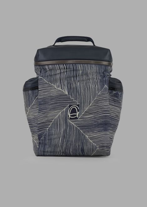 Maxi backpack in printed fabric with side pockets