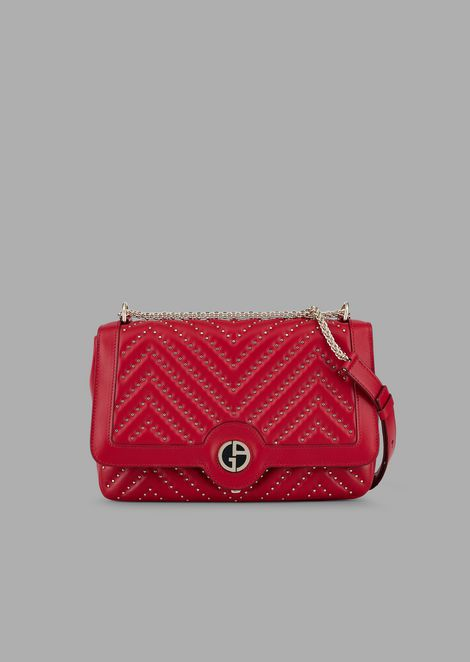 Shoulder bag in nappa leather with Chevron studs