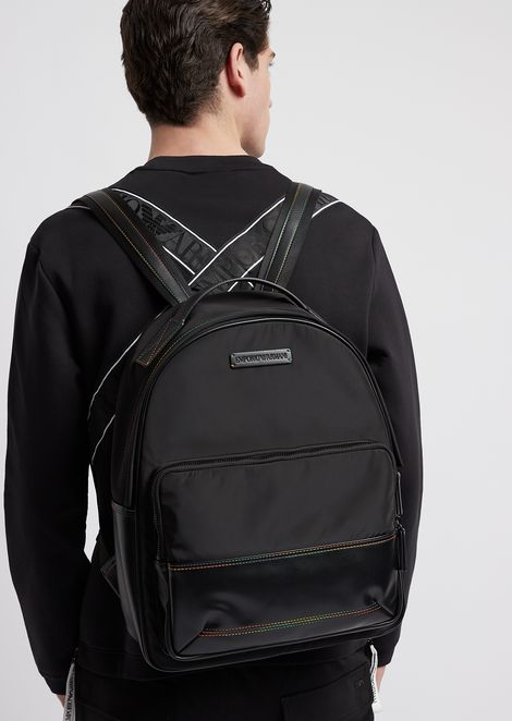 PVC backpack with multicolor stitching