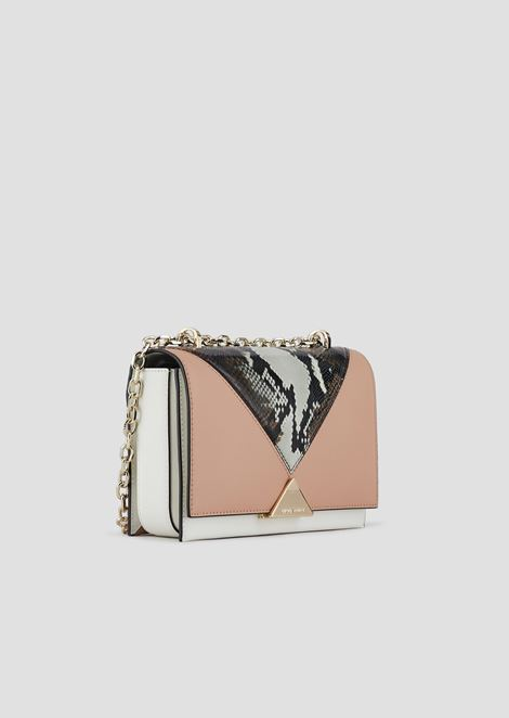 Shoulder bag in leather with python print detail