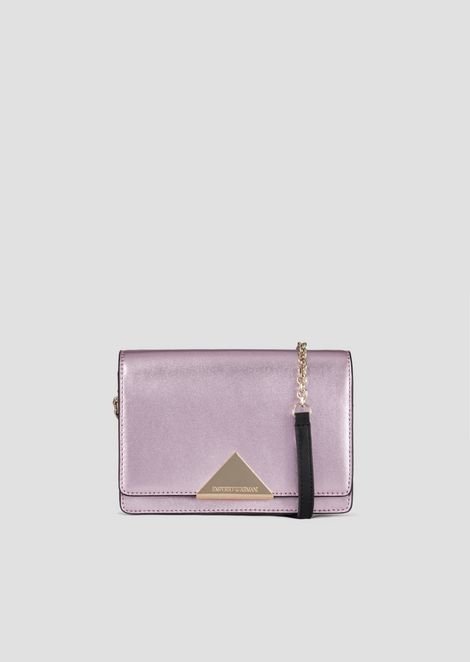 Mini shoulder bag in cowhide leather and triangular closure