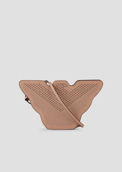 Small, eagle-shaped bag in metal leather with studs
