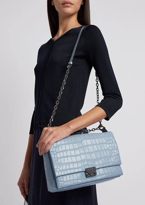 Croc print leather crossbody bag