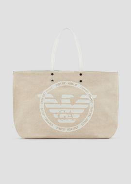 EMPORIO ARMANI Bolso shopper Mujer Bolso shopper de lona con maxilogotipo y pochette interior f