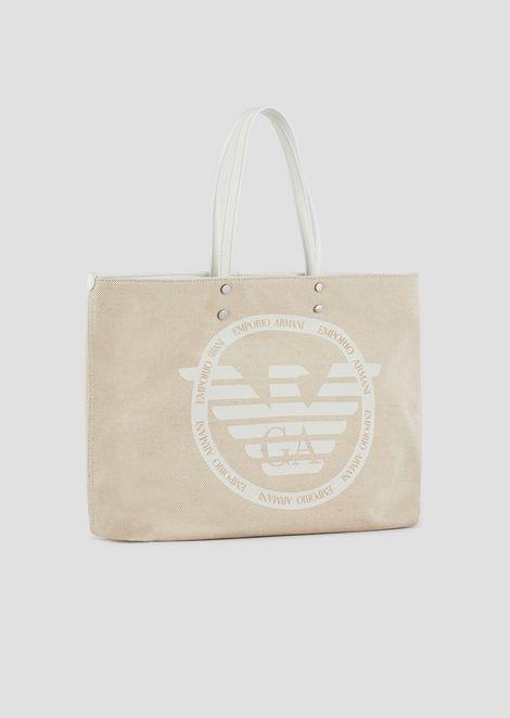 Сумка-шоппер из холщовой ткани скрупным логотипом иклатчем внутри