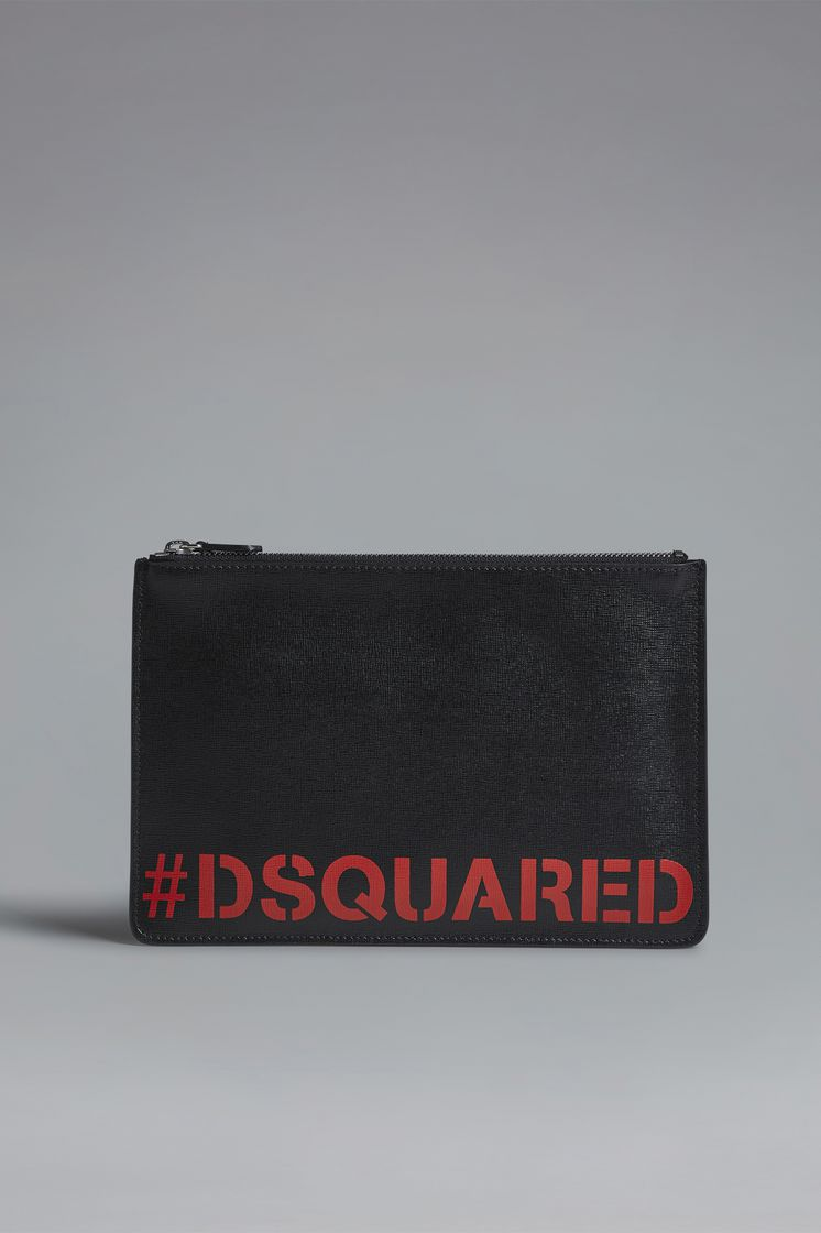 DSQUARED2 Red & Black Punk Pouch Wallet Man