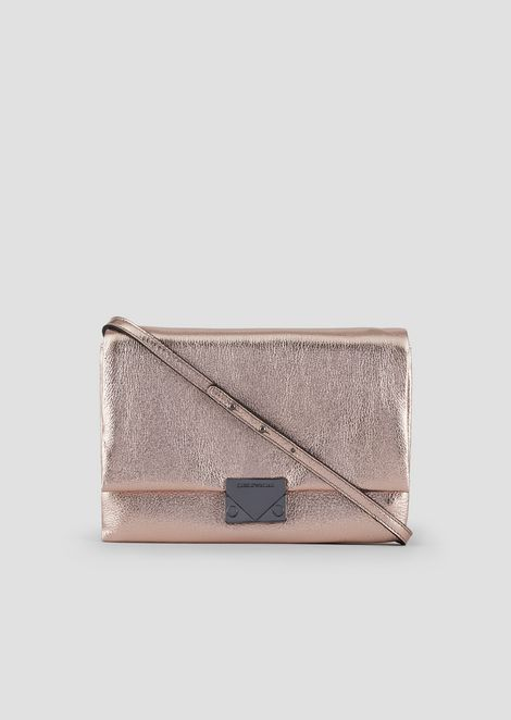 Clutch bag with shoulder strap in metal leather