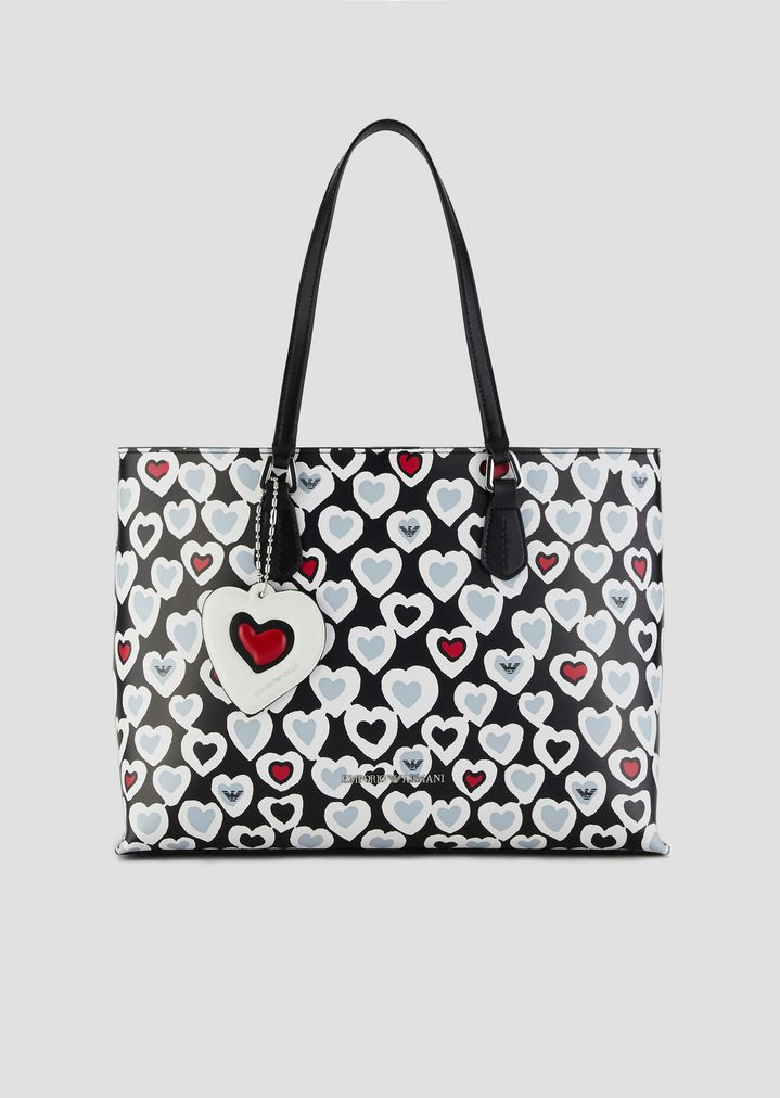 2e54f4c0dc19 Shopping bag with heart print and internal clutch