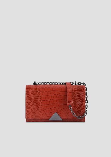 Shoulder bag in crocodile-print leather with triangular clasp