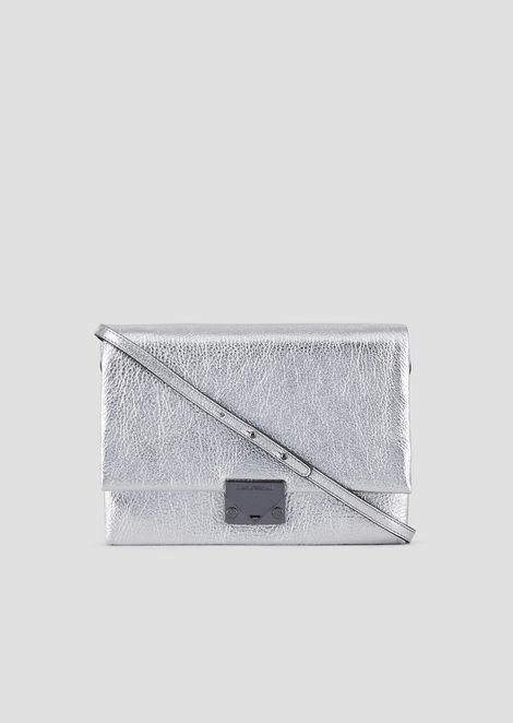Clutch bag with shoulder strap in metallic leather