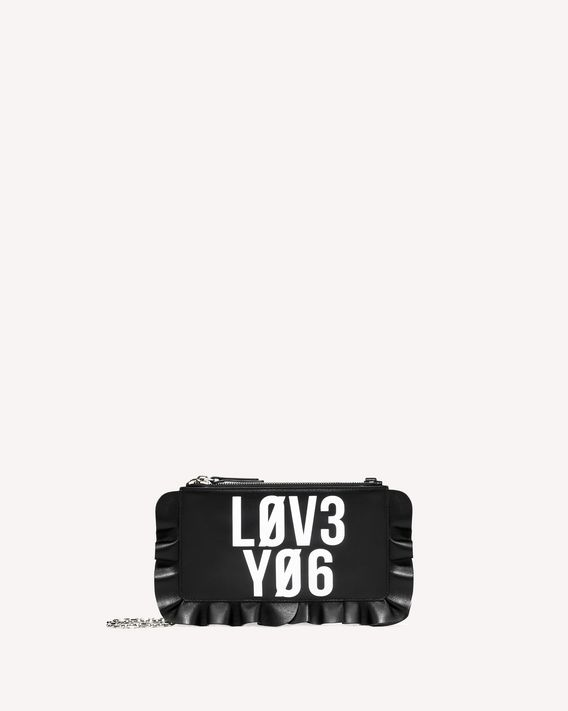 REDValentino ROCK RUFFLES ENCRYPTED LOVE NOTES POCHETTE