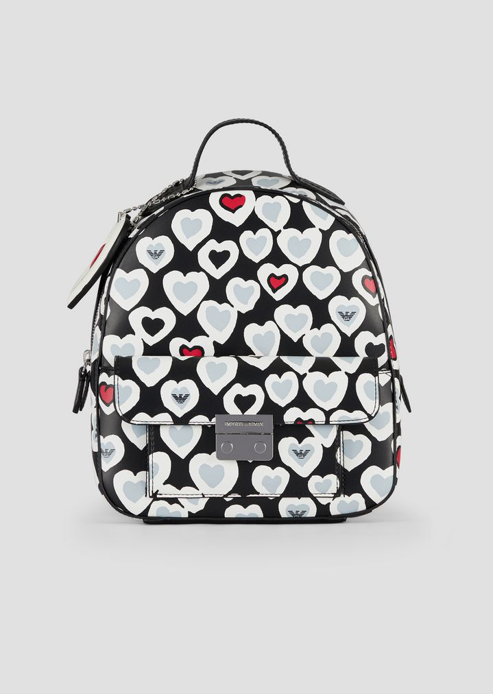 d9f472c9009f Backpack with all-over heart print with pocket and heart pendant ...
