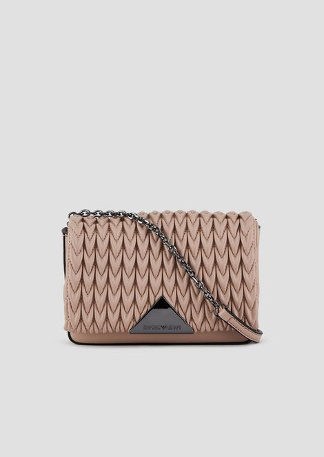 Mini cross-body bag with quilted front and triangular fastening
