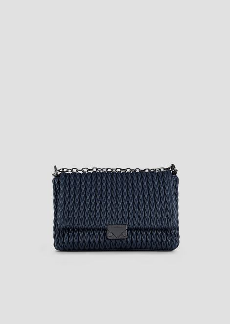 Quilted faux nappa cross-body bag with drop motif