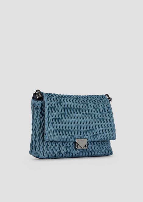 Large cross-body bag in quilted denim with drop motif