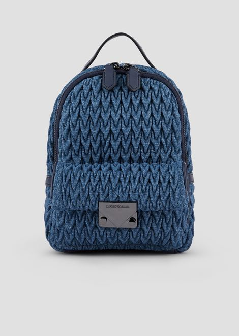 Mini-backpack in quilted denim with drop motif