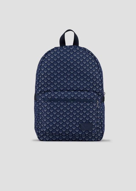 Backpack in all-over logo fabric