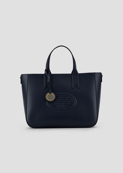 Garnet shopping bag with embossed logo and logoed charm