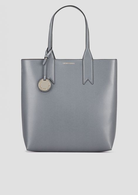 Grained shopper bag with logo charm and internal pochette