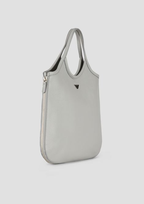 Hobo bag in hammered leather with side zippers