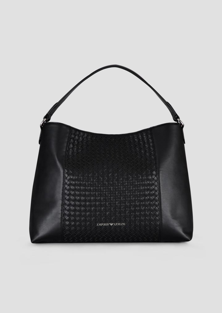 Leather hobo bag with woven central part and internal clutch  ef5f0f79aaf8c