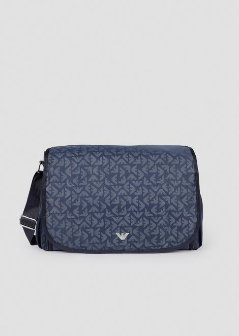 Changing bag in all-over logoed fabric