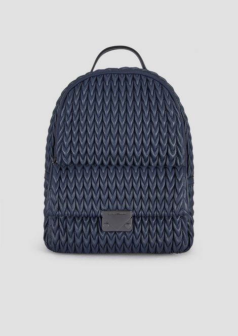 Mini backpack in quilted faux nappa leather with drop motif