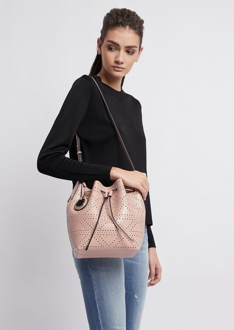 Bucket bag with strap and logo charm