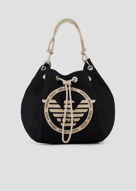 EMPORIO ARMANI Bolso saco Mujer Bolsa tipo saco de lona con maxilogotipo f