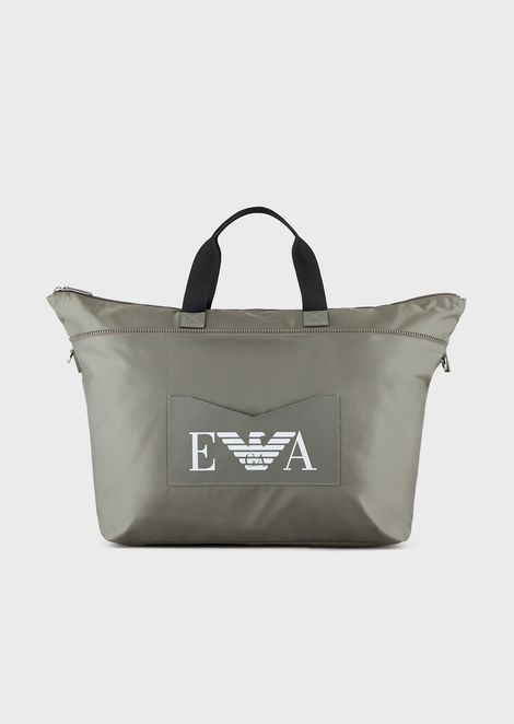 Weekend bag in technical fabric with contrasting strap