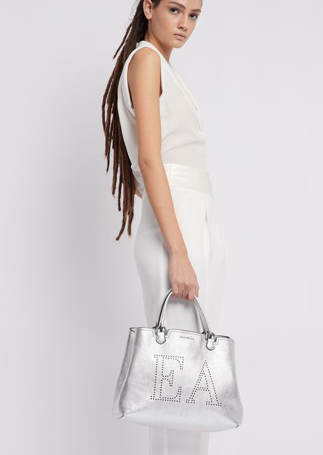 Metallic deer-print leather shopper with perforated logo