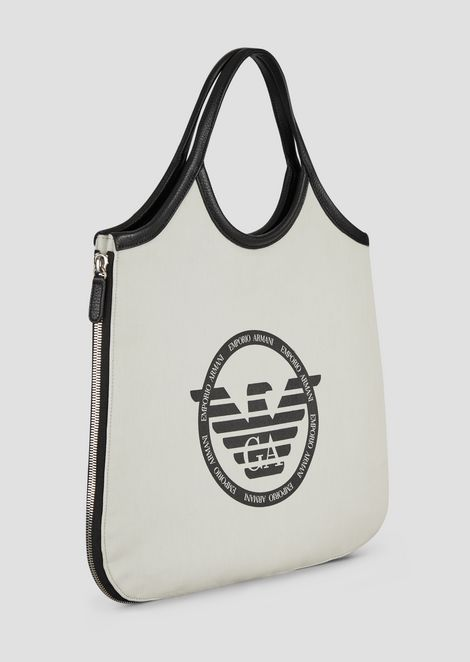 Hobo bag in canvas with side zippers