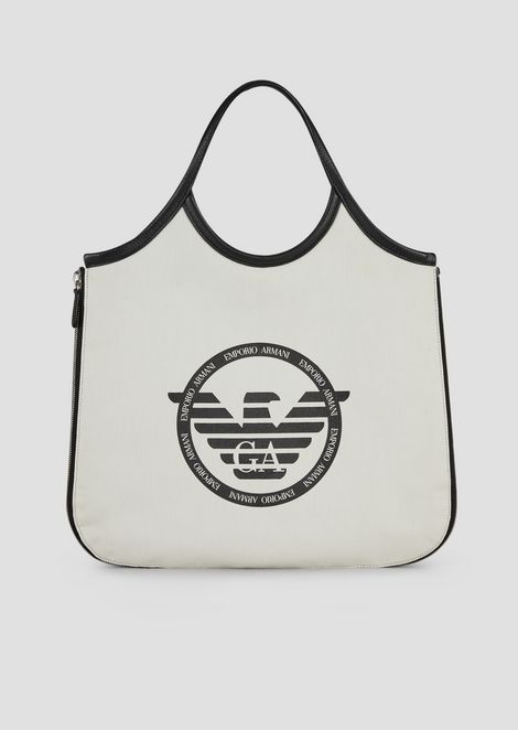 Hobo bag in canvas with side zips