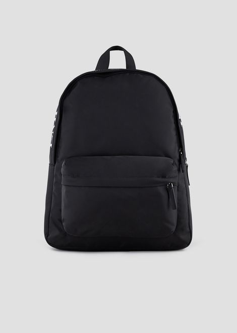 Backpack in nylon tech fabric with maxi logo on the top