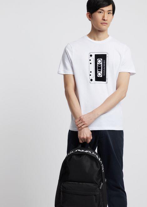 Zaino in tela tecnica di nylon con maxi-logo superiore